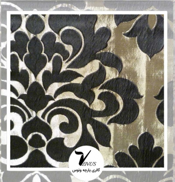 پارچه مبلی ترک اویپک | طرح کریستال رنگ بژ گل مشکی