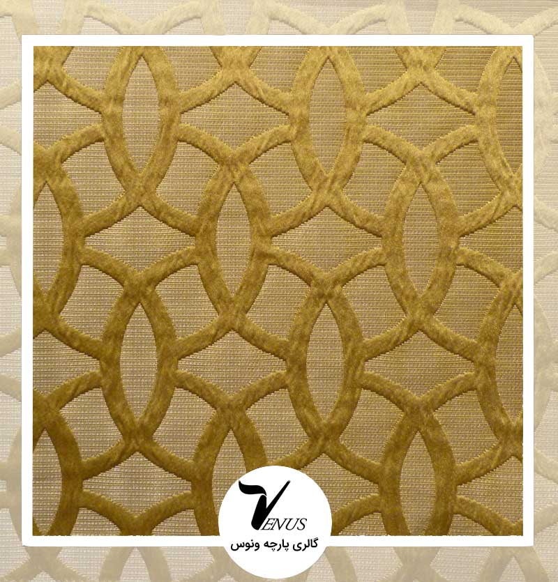 پارچه مبلی ترک اویپک | طرح مریت رنگ آبی طلایی