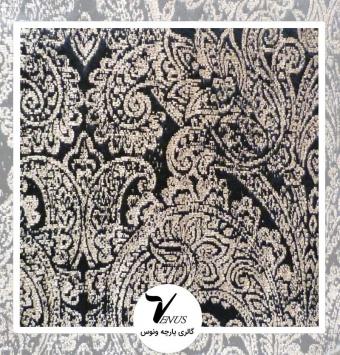 پارچه مبلی ترک اویپک | طرح لایف رنگ مشکی با گل بژ