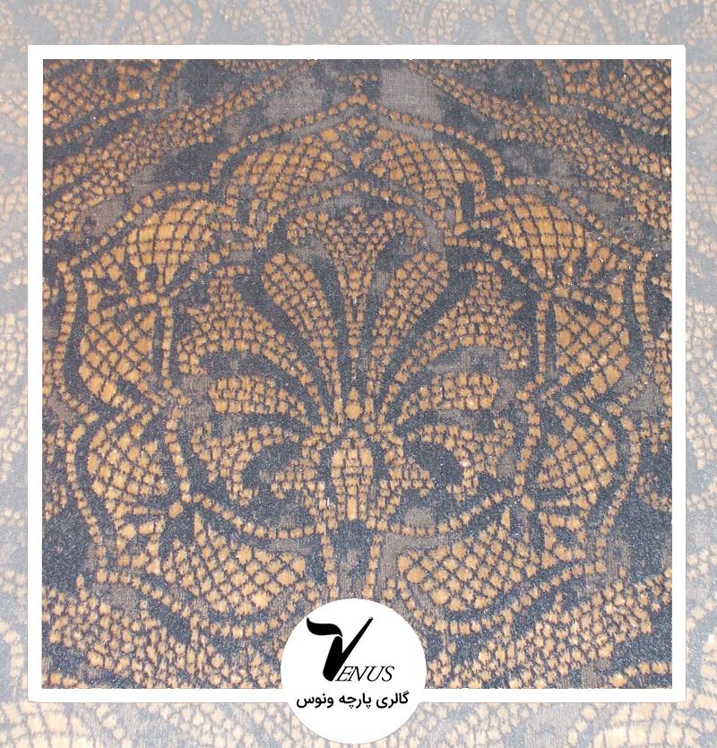 پارچه مبلی ترک اویپک | طرح مایا رنگ سرمه ای طلایی