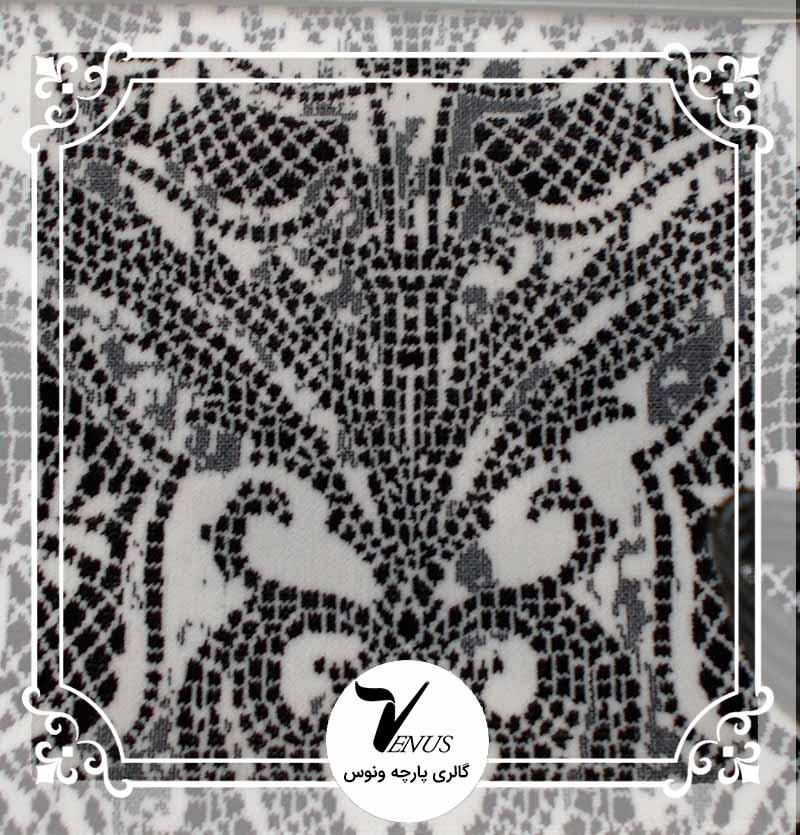 پارچه مبلی ترک اویپک | طرح مایا رنگ سفیدمشکی