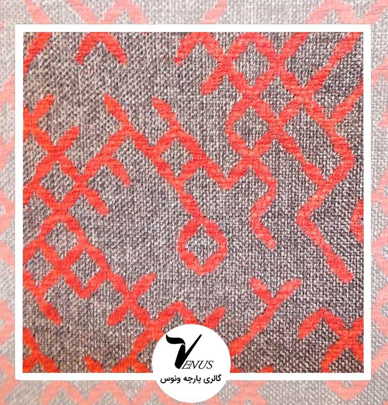 پارچه مبلی اویپک | طرح بتا | رنگ خاکستری قرمز