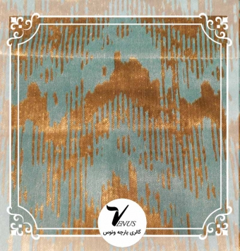 پارچه مبلی ترک اویپک طرح مایا رنگ سبز آبی طلایی طرح3