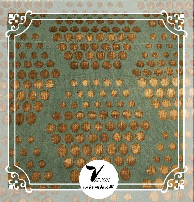 پارچه مبلی ترک اویپک طرح مایا رنگ سبز آبی طلایی طرح6