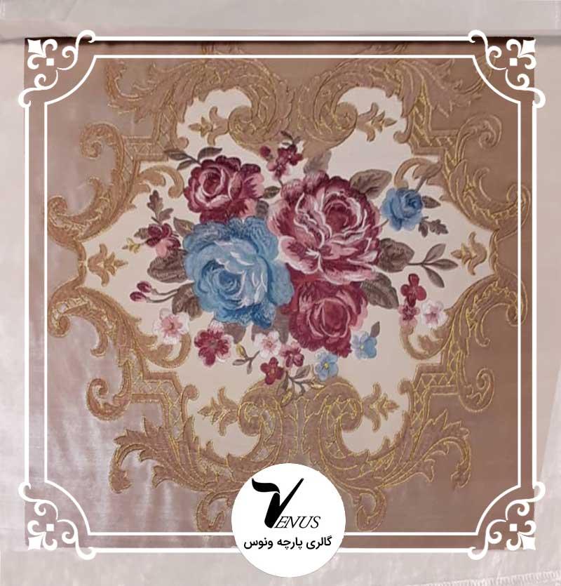 پارچه مبلی ترک مخمل گلدوزی شده رنگ کرم طرح گل داماس