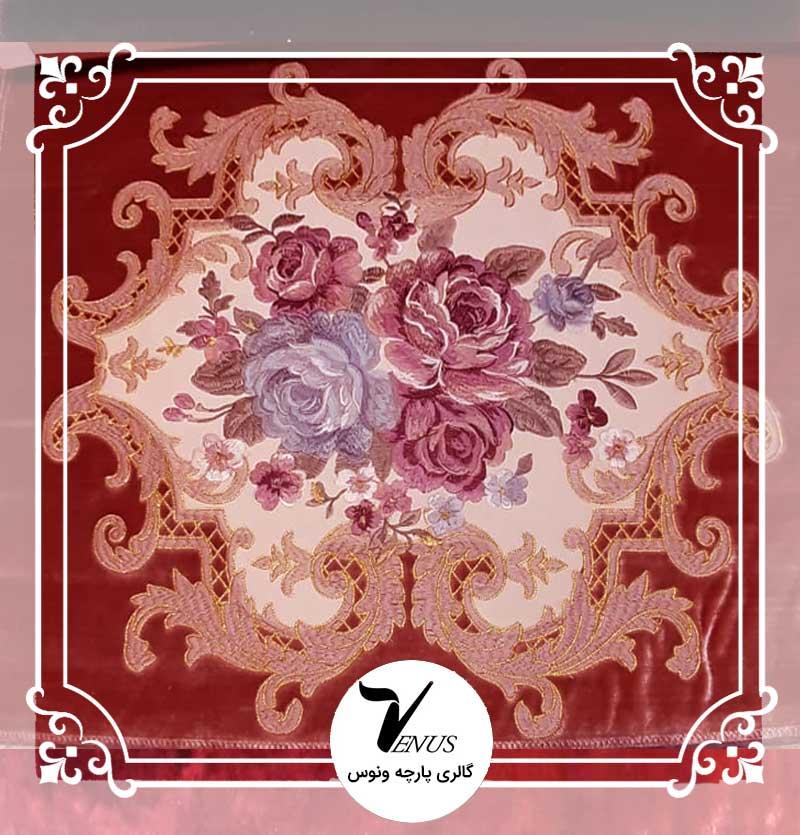 پارچه مبلی ترک مخمل گلدوزی شده رنگ پوست پیازی طرح گل داماس