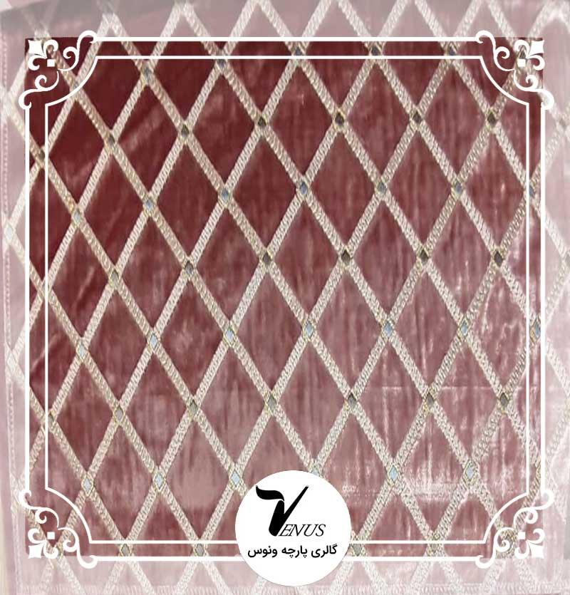 پارچه مبلی ترک مخمل گلدوزی شده رنگ پوست پیازی طرح لوز