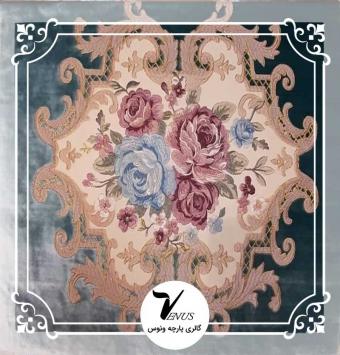 پارچه مبلی ترک مخمل گلدوزی شده رنگ آبی طرح گل داماس